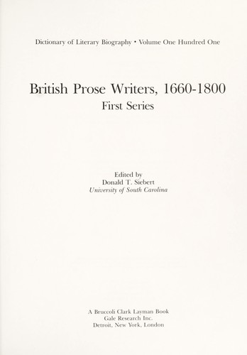 British Prose Writers, 1660-1800 by Donald T. Siebert