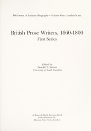 Cover of: British Prose Writers, 1660-1800 by Donald T. Siebert