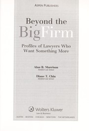 Cover of: Beyond the big firm by Alan B. Morrison