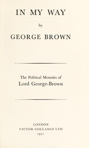 Cover of: In my way | George-Brown, George Alfred Brown Baron