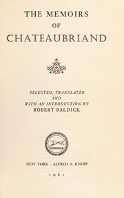 Cover of: The memoirs of Chateaubriand | François-René de Chateaubriand