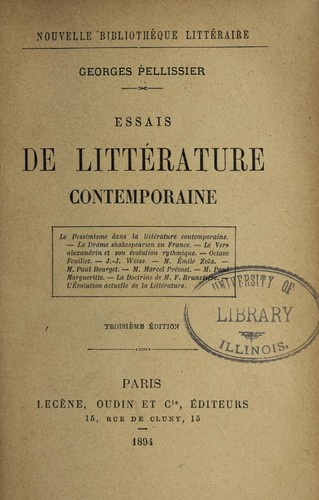 Essais de litte rature contemporaine by Georges Pellissier