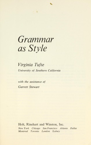 Grammar as style by