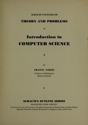 Cover of: Introduction to Computer Science (Schaum's Outline) | F. Scheid
