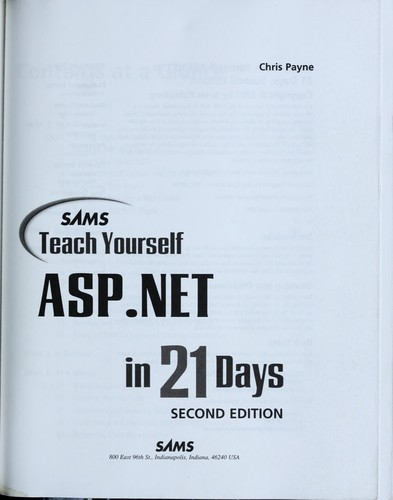 Sams Teach Yourself ASP. NET in 21 Days by Chris Payne