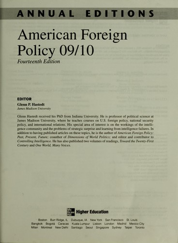 American Foreign Policy 09/10 by Glenn P. Hastedt