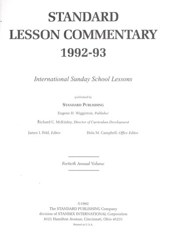 Standard Lesson Commentary 1992-93 by James Fehe
