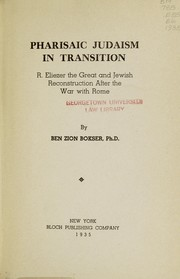Cover of: Pharisaic Judaism in transition | Ben Zion Bokser
