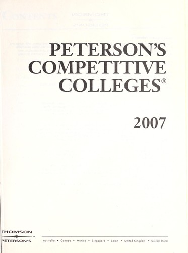 Peterson's Competitive Colleges 2007 by Fern A. Oram