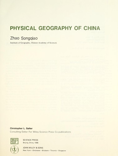 Physical geography of China by Sung-chʻiao Chao