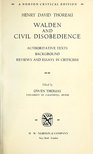 Walden And Civil Disobedience  Authoritative Texts Background  Walden And Civil Disobedience  Authoritative Texts Background Reviews  And Essays In Criticism Narrative Essay Thesis Statement Examples also Political Science Essays  Essays On Health Care Reform