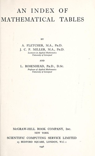 An index of mathematical tables by A. Fletcher