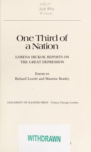 One third of a nation by Lorena Hickok