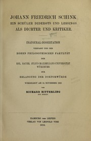 Cover of: Johann Friedrich Schink by Richard Bitterling