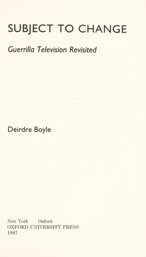 Subject to change by Deidre Boyle