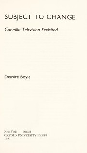 Cover of: Subject to change | Deidre Boyle