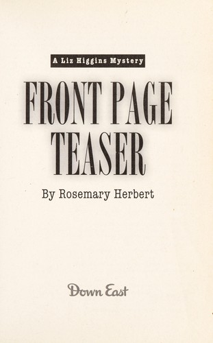 Front page teaser by Rosemary Herbert