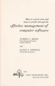 Cover of: How to control costs and improve profits through the effective management of computer software by Warren J. Ridge