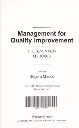 Management for Quality Improvement by Shigeru Mizuno