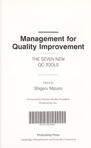 Cover of: Management for Quality Improvement | Shigeru Mizuno