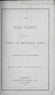 Cover of: The Hall family | Whitmore, William Henry