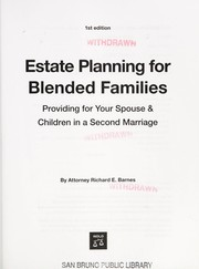 Cover of: Estate planning for blended families | Richard E. Barnes