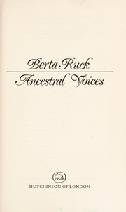 Cover of: Ancestral voices | Berta Ruck