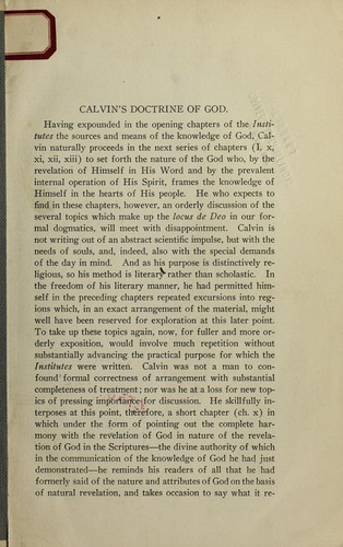 Calvin's doctrine of God by Benjamin Breckinridge Warfield
