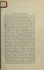 Cover of: Calvin's doctrine of God | Benjamin Breckinridge Warfield