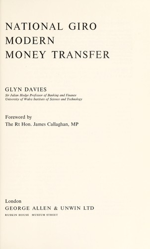 National Giro; modern money transfer by Davies, Glyn