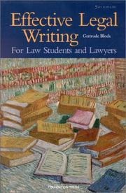 Cover of: Effective legal writing | Gertrude Block