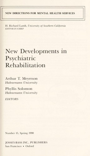 New Developments in Psychiatric Rehabilitation (New Directions for Youth Development) by Arthur T. Meyerson