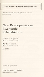 Cover of: New Developments in Psychiatric Rehabilitation (New Directions for Youth Development) | Arthur T. Meyerson