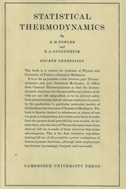 Cover of: Statistical thermodynamics | R. H. Fowler