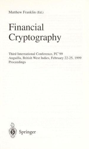 Financial cryptography by FC'99 (Conference) (1999 Anguilla)