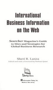 Cover of: International business information on the web | Sheri R. Lanza