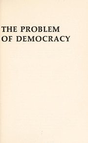 Cover of: The problem of democracy | Herbert Lars Gustaf Tingsten