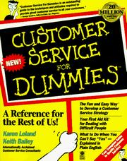 Cover of: Customer service for dummies | Keith Bailey