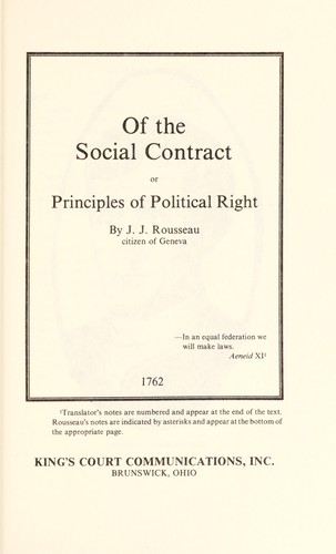 Of the social contract by Jean-Jacques Rousseau