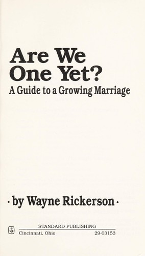 Are We One Yet? by Wayne Rickerson