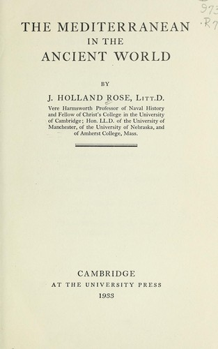 The Mediterranean in the ancient world by John Holland Rose