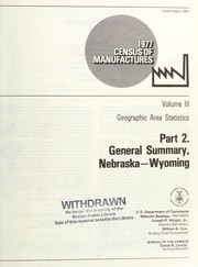 Cover of: 1977 census of manufactures | United States. Bureau of the Census