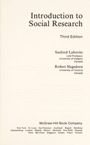 Cover of: Introduction to social research | Sanford Labovitz