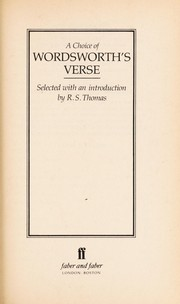 Cover of: Choice of Wordsworth Verse | William Wordsworth