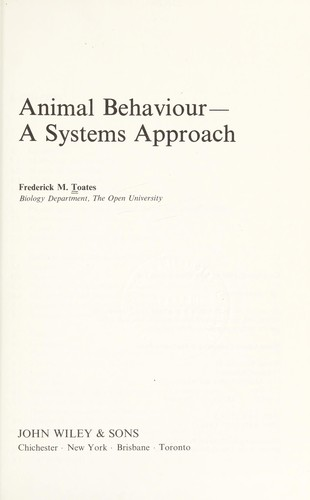 Animal behaviour by F. M. Toates