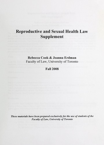 Reproductive and sexual health law by Rebecca J. Cook