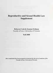 Cover of: Reproductive and sexual health law | Rebecca J. Cook