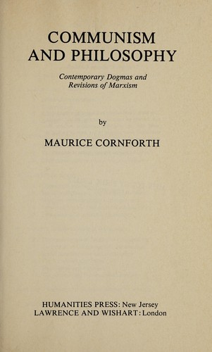 Communism and philosophy by Maurice Campbell Cornforth