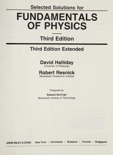 Selected Solutions For Fundamentals Of Physics Third