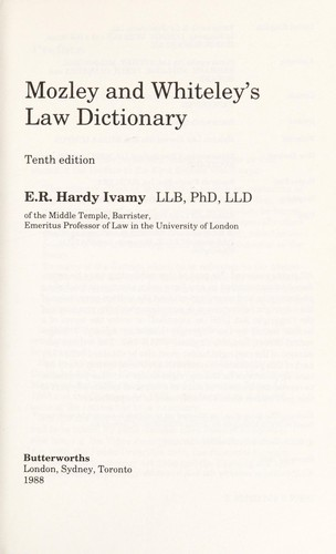 Law dictionary by Herbert Newman Mozley